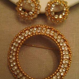 Park Lane Crystal Rhinestone Brooch Earring Set